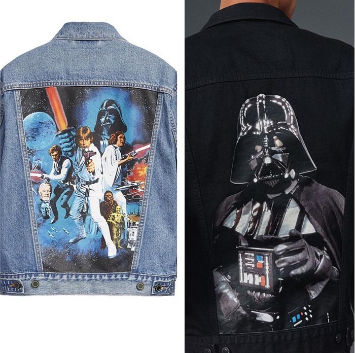 La capsule Star Wars Levi's comporte des vestes en jeans marquées de citations et d'impressions dorsales
