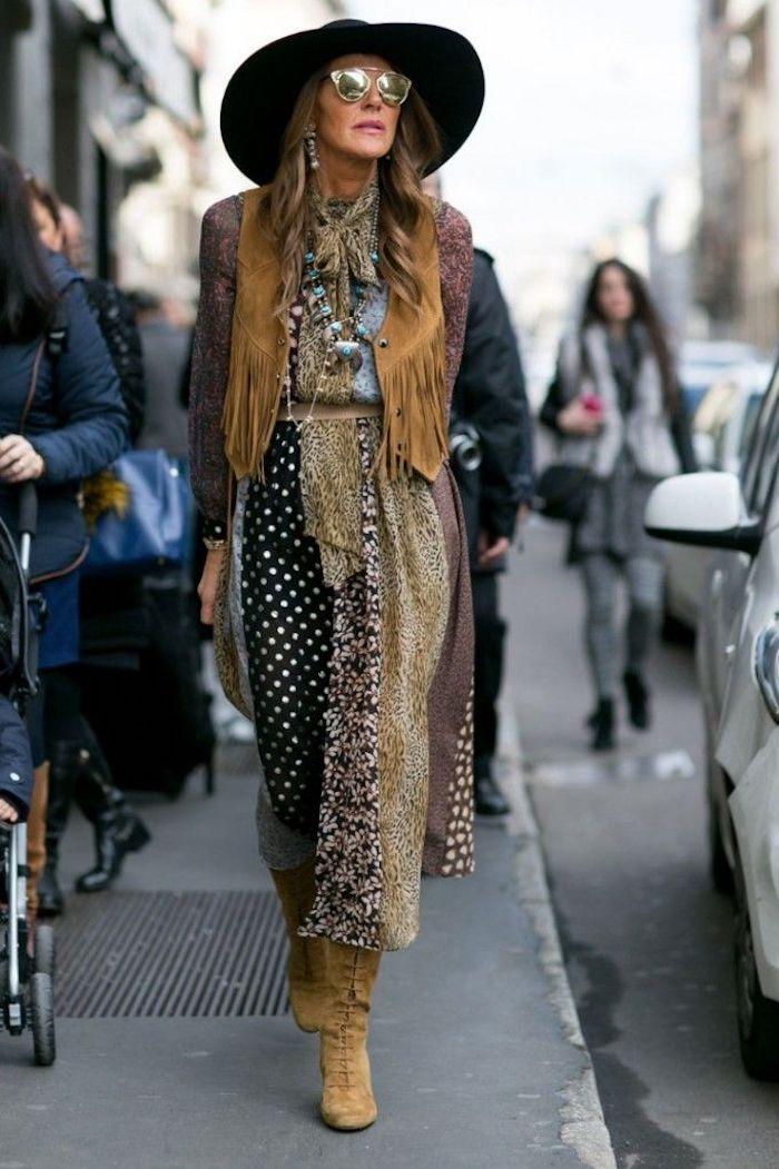 Femme tenue bohème chic, idée comment porter une robe bohème chic hiver, tenue d'hiver parfait au style bohème