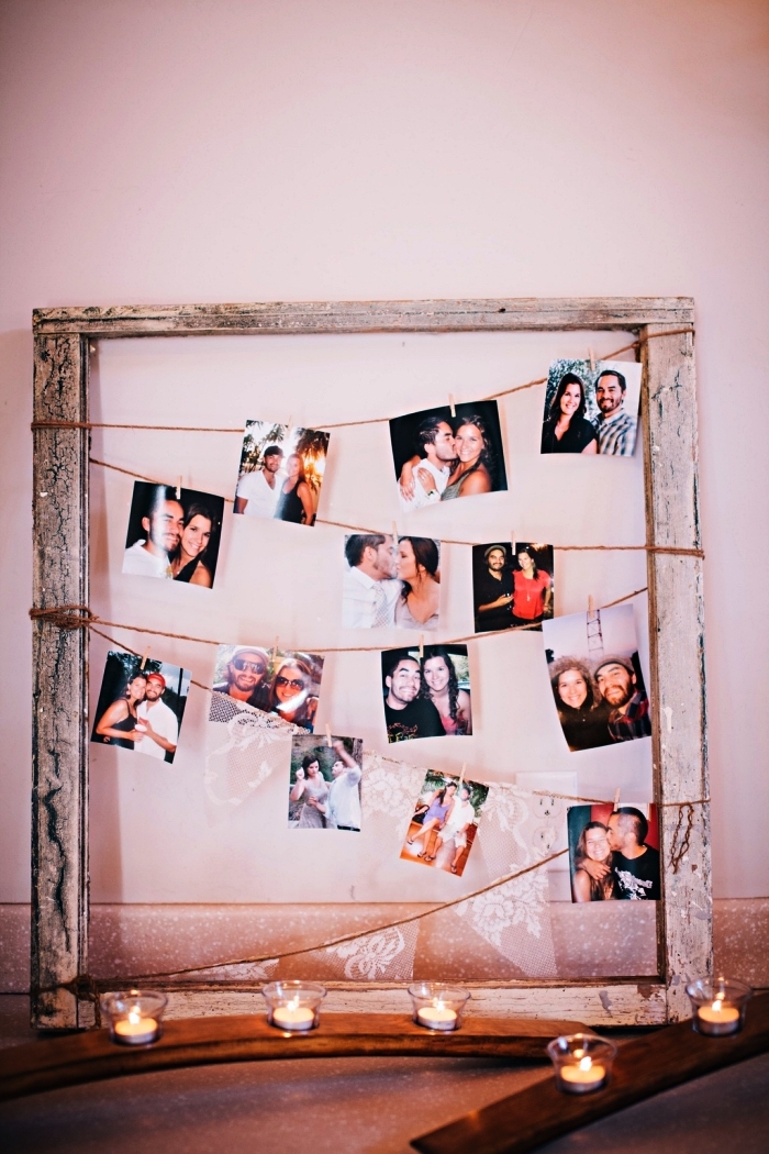 cadre multi photo en bois récup d'aspect vieilli, pêle-mêle avec pinces à linge, décoration de mariage à faire soi-même