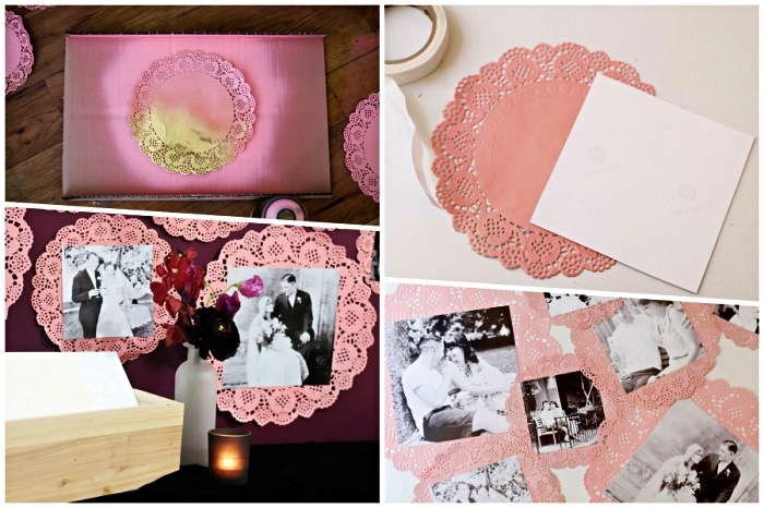 bricolage adultes facile, napperons peints rose transformés en cadres photos vintage, déco murale avec napperons ronds