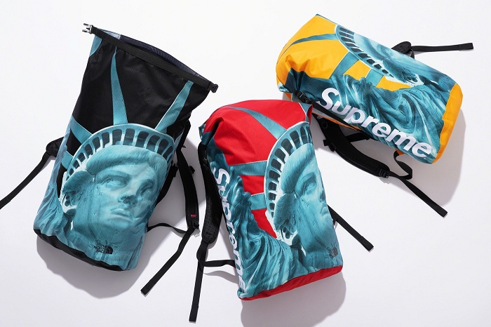La collection The North Face Supreme contient deux vestes Baltoro et Moutain, ainsi qu'un sac à dos imprimé de la statue de la Liberté