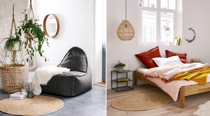 accessoire déco tendance 2019, modèle de tapis rond en fibre naturelle, décoration chambre à coucher avec accents couleurs chaudes