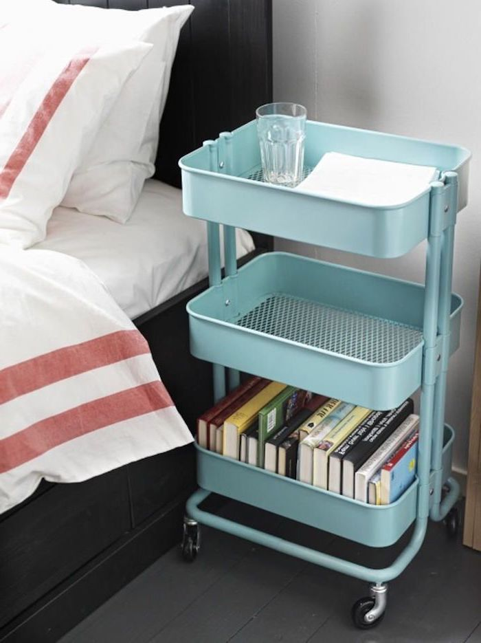 table de nuit pour ranger livres bout de lit et autres affaires personnels, ikea rangement chambre original