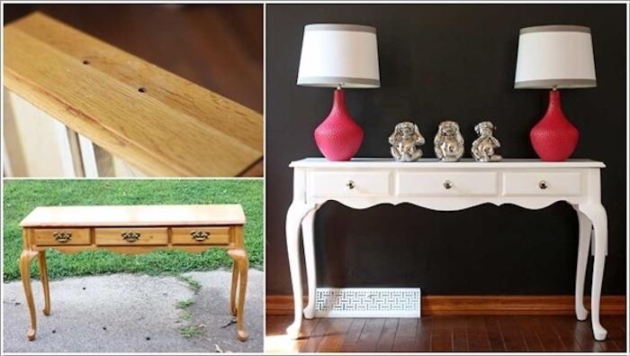 Table vintage repeinte en blanc, peinture meuble en bois, quelle peinture pour repeindre un meuble en bois