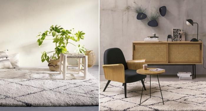 quel tapis pour un salon moderne, décoration salon contemporain aux murs béton avec meubles bois et noir mat