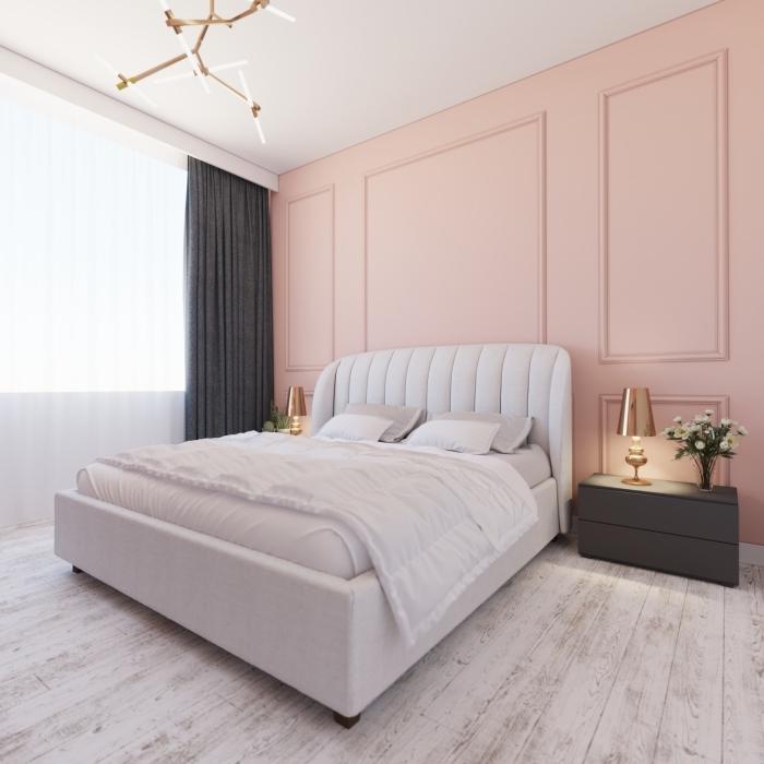 idée peinture chambre moderne, quelle couleur associer au gris dans une chambre adulte, déco minimaliste et moderne
