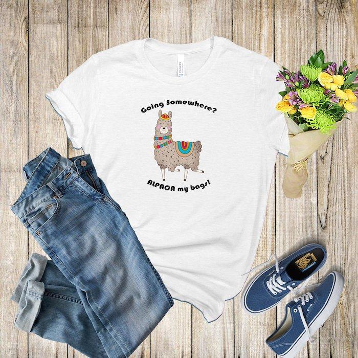 T-shirt avec alpaca, cadeau pour voyageur, cadeau original pour sa meilleure amie