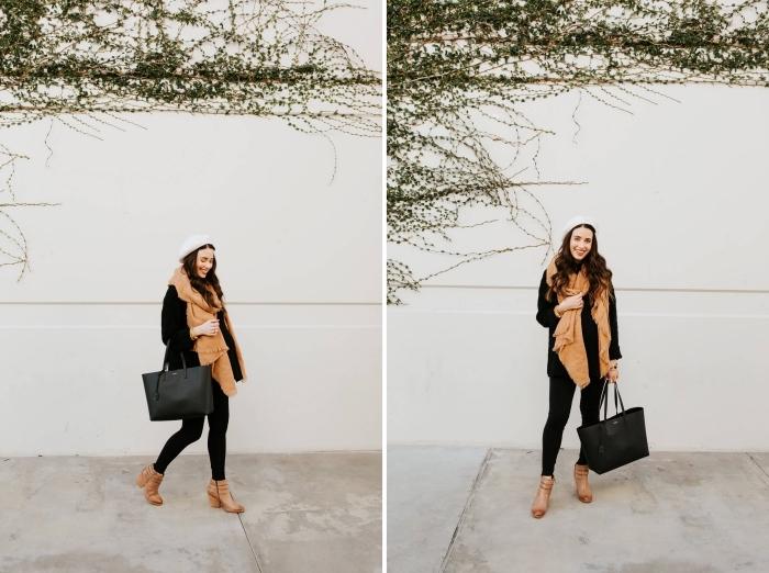 pantalon grossesse slim noir, look femme enceinte en legging noir avec manteau noir, comment combiner les couleurs de ses vêtements