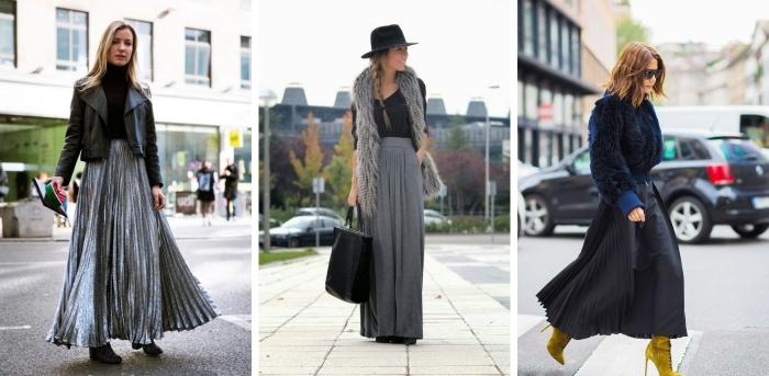 idée comment porter une jupe longue fluide, style vestimentaire femme au bureau en noir et gris avec jupe longue et veste cuir courte