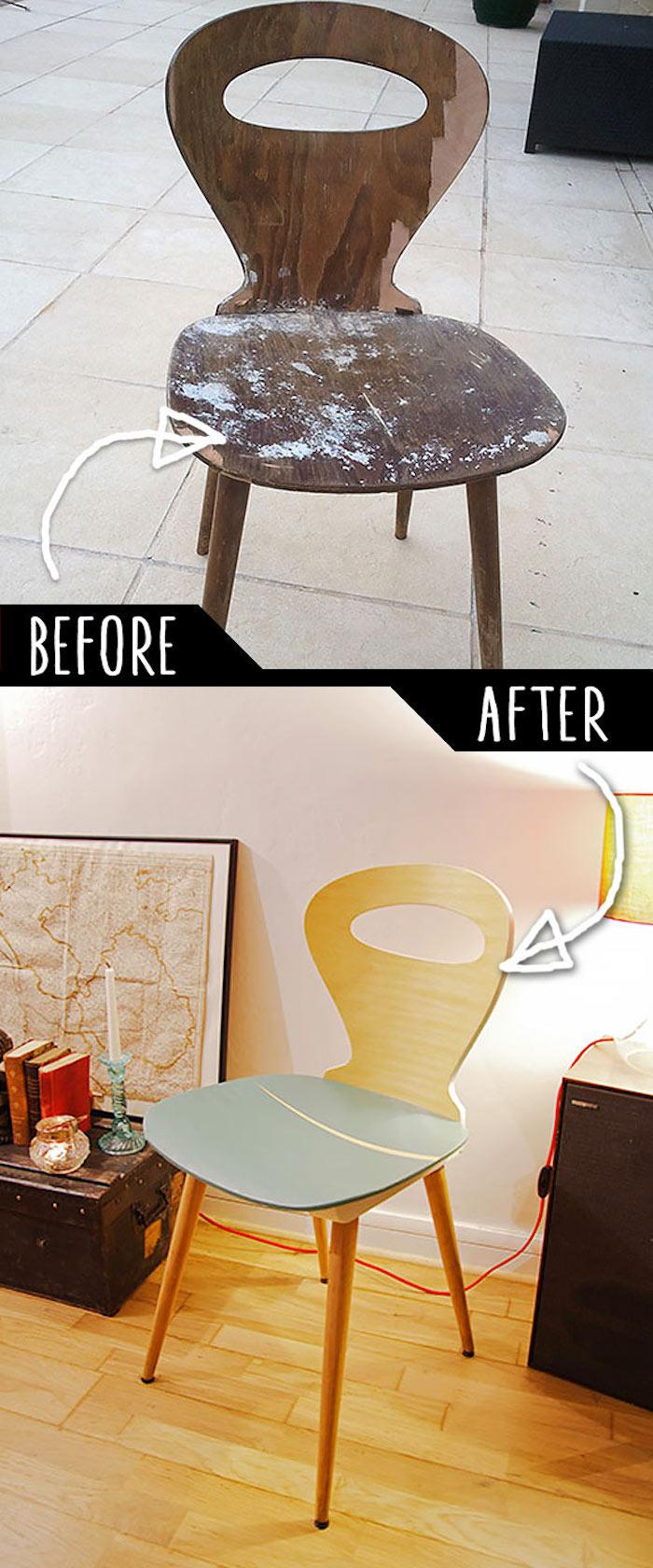 Vieux chaise transformé en cool chaise, photo avant et après, relooking meuble, quelle peinture pour repeindre un meuble en bois