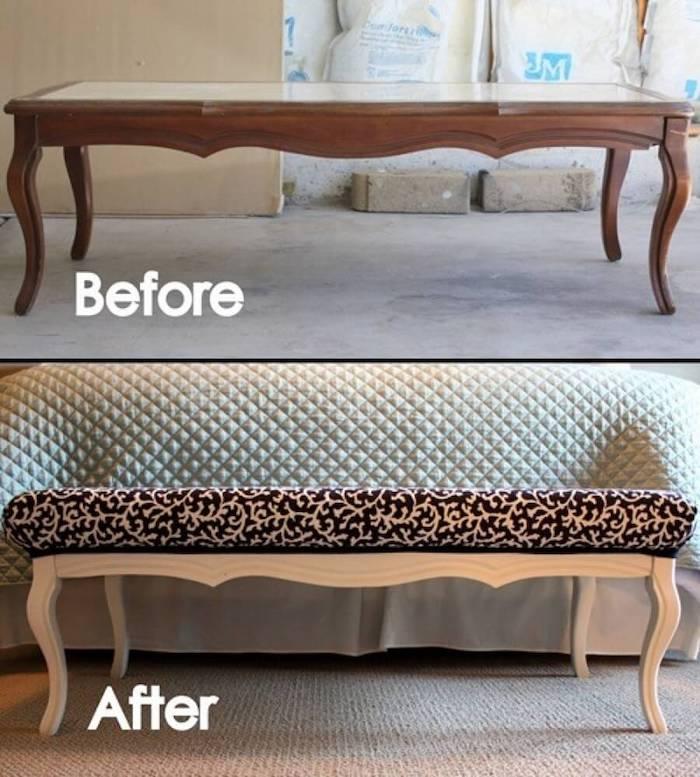 Bois repeindre un meuble, idée peinture meuble cuisine ou salon, photo avant et après le renouvellement de la table en banc d'assis