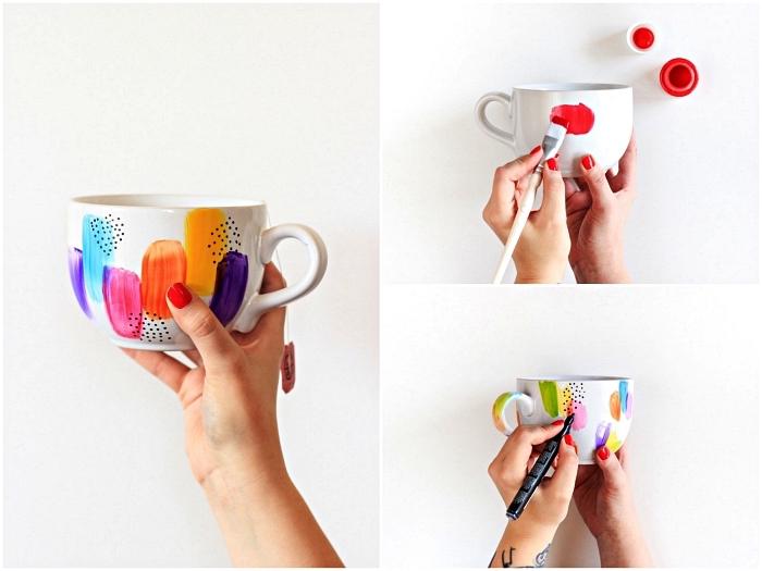 relooker ses tasses à café blanches en quelques coups de pinceaux grâce à la peinture céramique, mug personnalisé à dessin abstrait multicolore