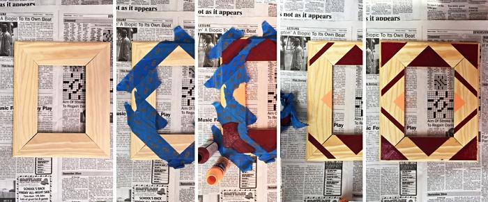customiser un cadre photo bois avec de la peinture, cadre en bois à motifs graphiques colorés