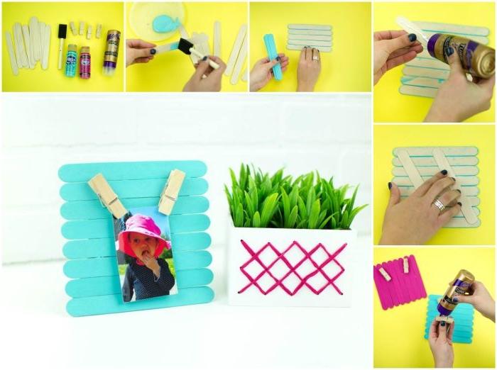 tuto facile pour fabriquer un cadre photo avec bâtonnets de glace collés ensemble et repeints en bleu, bricolage fête des mères à faire soi même