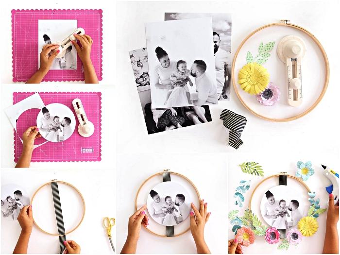 tuto pour fabriquer un cadre photo original à partir d'un tambour à broder, déco murale avec photo et fleurs en papier
