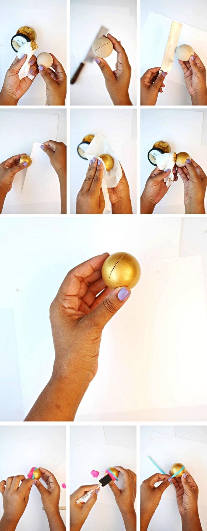 activité manuelle adulte, tuto pour réaliser un porte photo en bouton de porte boule en bois peint en rose et or