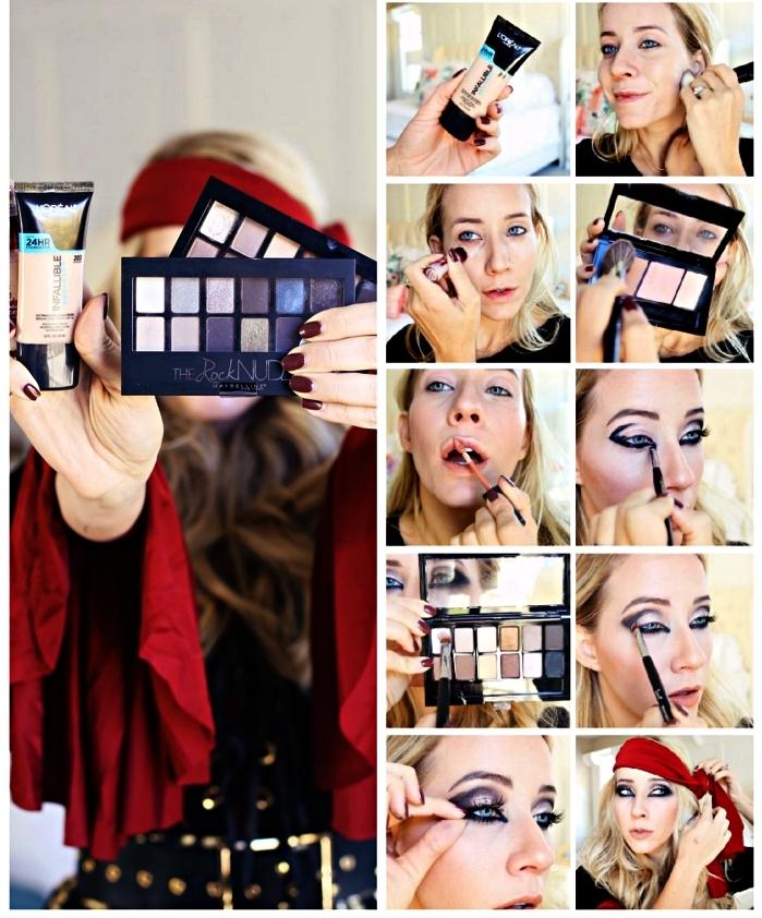 tuto maquillage facile pour un déguisement de pirate femme, maquillage des yeux charbonneux pour un look femme pirate