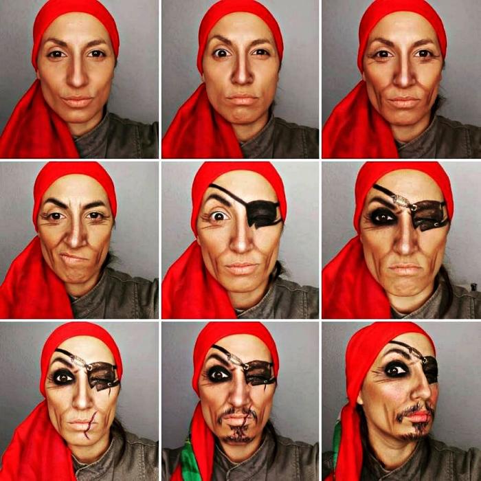 tuto maquillage halloween facile pour un look de pirate effrayant, maquillage de pirate avec fausse barbe et cache-oeil dessinés
