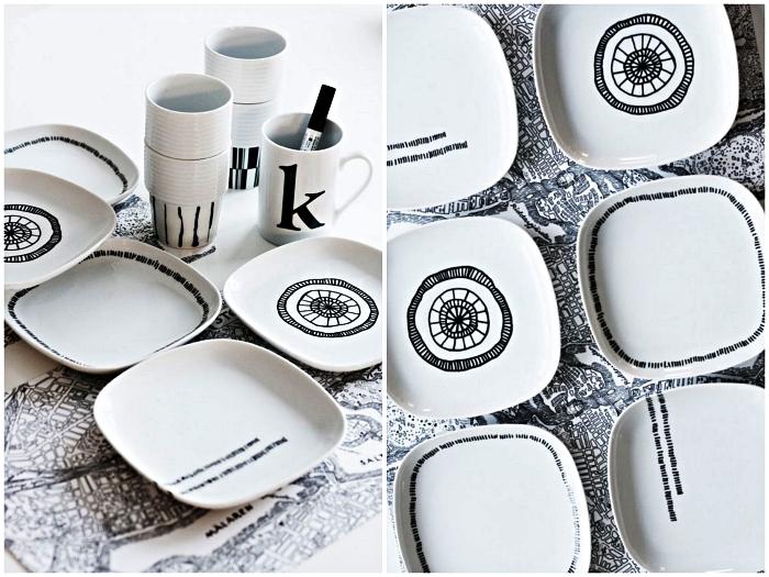 customiser sa vaisselle avec du feutre porcelaine, assiettes graphiques en noir et blanc décorées au feutre à porcelaine