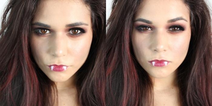 idée deguisement halloween adulte, comment se maquiller comme Nina Dobrev pour Halloween, maquillage vampire diy
