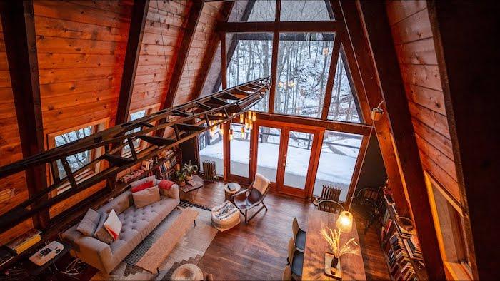 Salon rustique, deco cocooning chambre à coucher et salon en bois avec belle vue