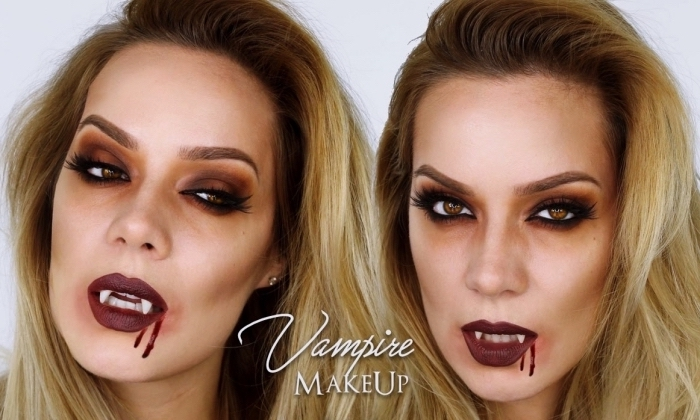 exemple de maquillage vampire femme pour Halloween, technique contouring visage facile avec fond de teint pale et poudre bronzante
