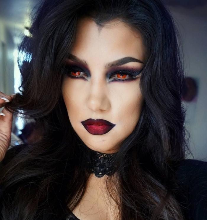technique de maquillage halloween vampire avec lentilles à couleur rouge, exemple de makeup lèvres à effet ombré