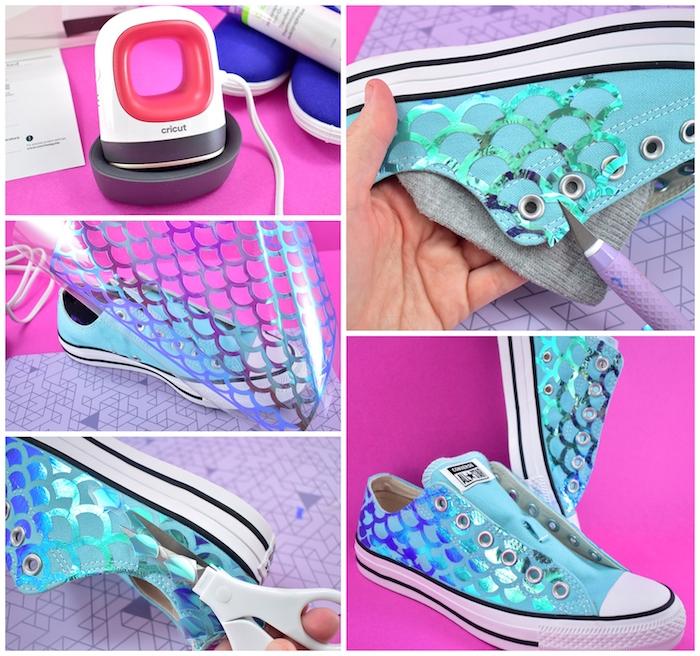 Basket style sirene, couleurs bleu et brillant, adidas personnaliser, quel matériel pour customiser ses chaussures