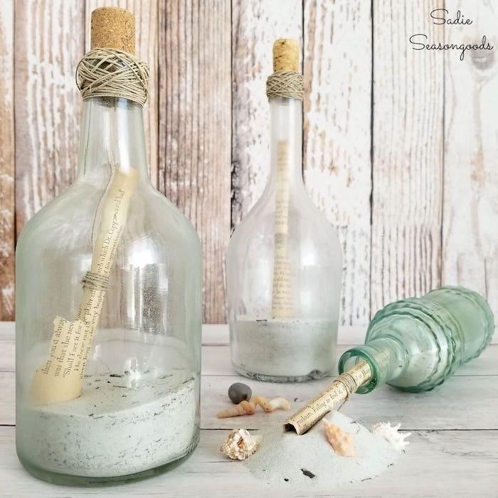 Message dans bouteille pour la déco thème mer, deco dame jeanne, comment décorer son séjour stylé