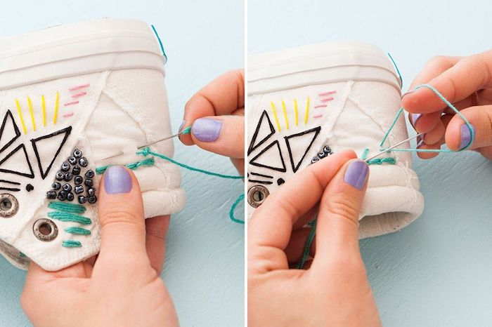 Chaussure personnalisable, basket blanche broderie, comment customiser ses chaussures blanches