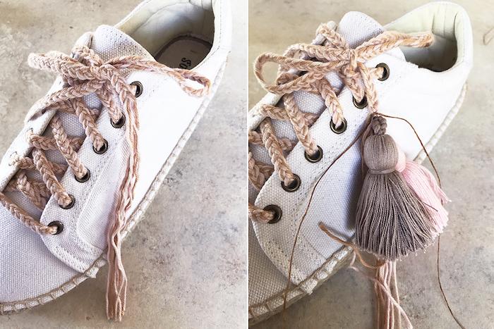 Espadriles personnalisés, quel matériel pour customiser ses chaussures, lacets en lin avec piscules diy simple idée activité manuelle
