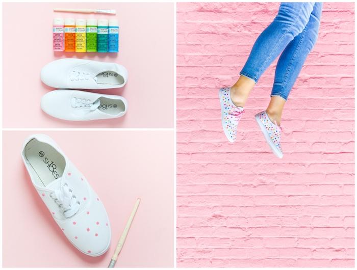 Customiser basket blanche simple, idée comment customiser ses vans à l'aide de peinture colore, faire des pois avec la coté opposée du pinceau