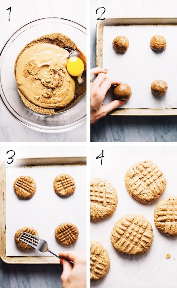 1 tasse de beurre de da cahuete, 2/3 tasse de sucre, 1 cuillère à thé de vanille, une tasse de pepite de chocolat et un oeuf pour faire des cookies moelleux au cacahuetes