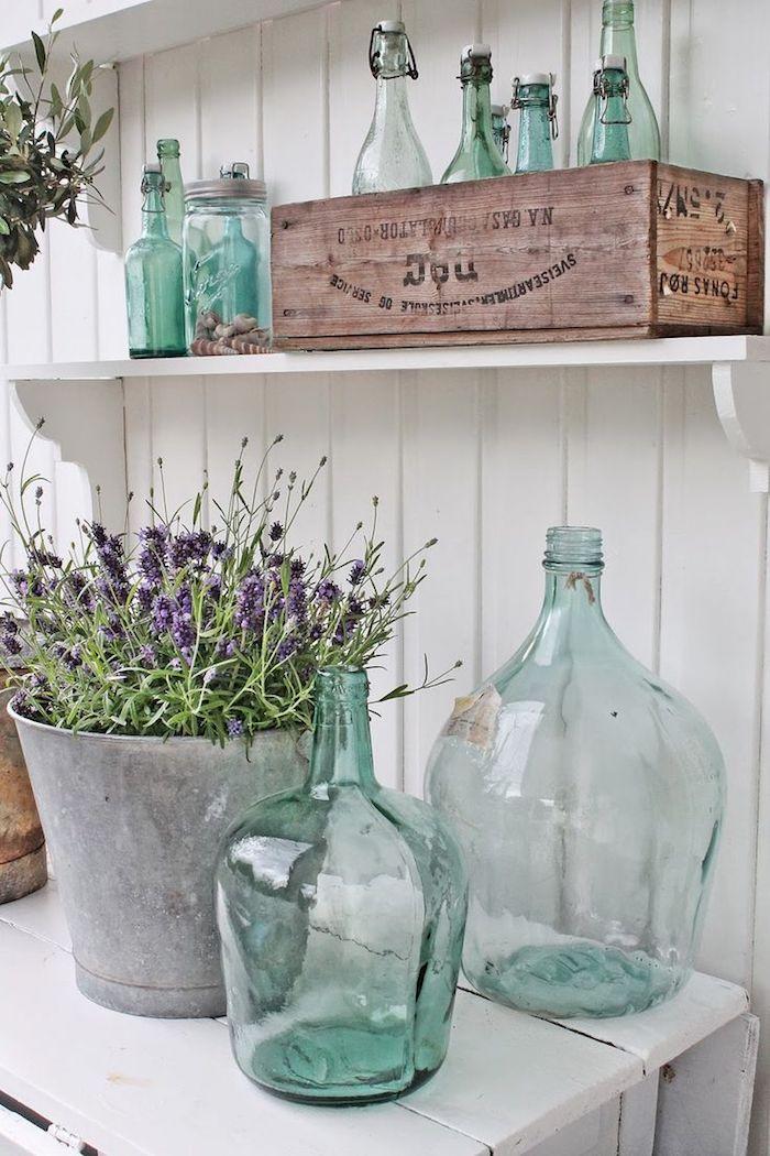 Vintage déco cuisine blanche, verre bleuté transparente, joli vase deco, grand vase diy deco a poser au sol