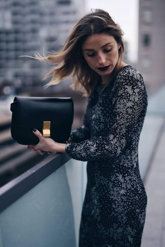 Gris et noir robe de reveillon, que devrais-je porter pour une séance photo de Noël, idée femme élégante tenue