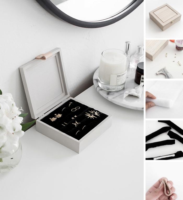 étapes à suivre pour réaliser un coffret a bijoux original, exemple comment décorer sa chambre stylée avec objets fait main