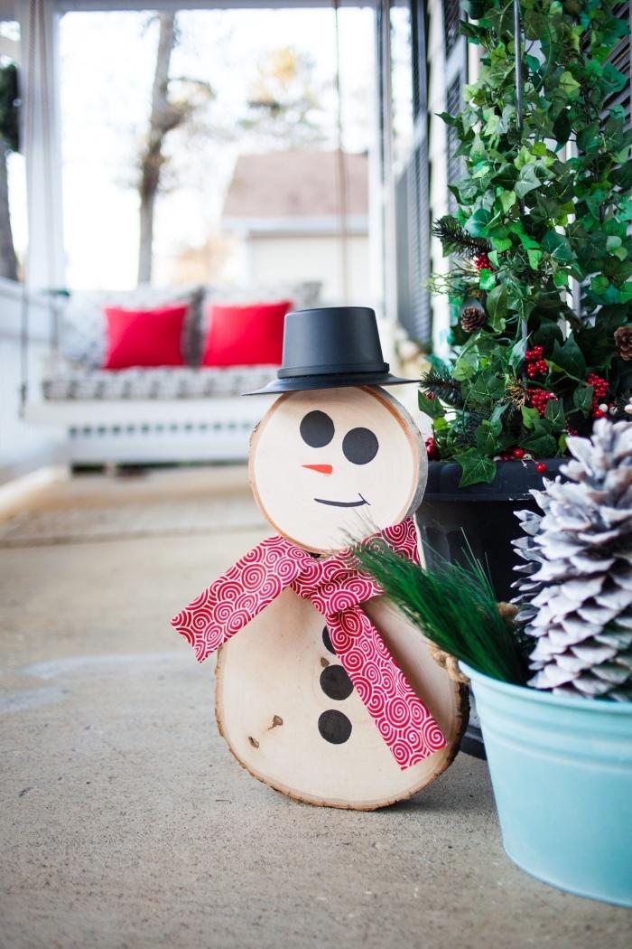 modèle de bonhomme de neige fait en rondelles de bois avec visage et boutons dessinés en marqueurs noir et orange, activités manuelles noel