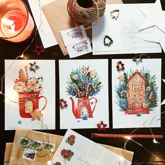 Peinture aquarelle, trois options de dessin de noel simple, image coloré noel, tasse avec chocolat chaud, théière et maison de gingembre