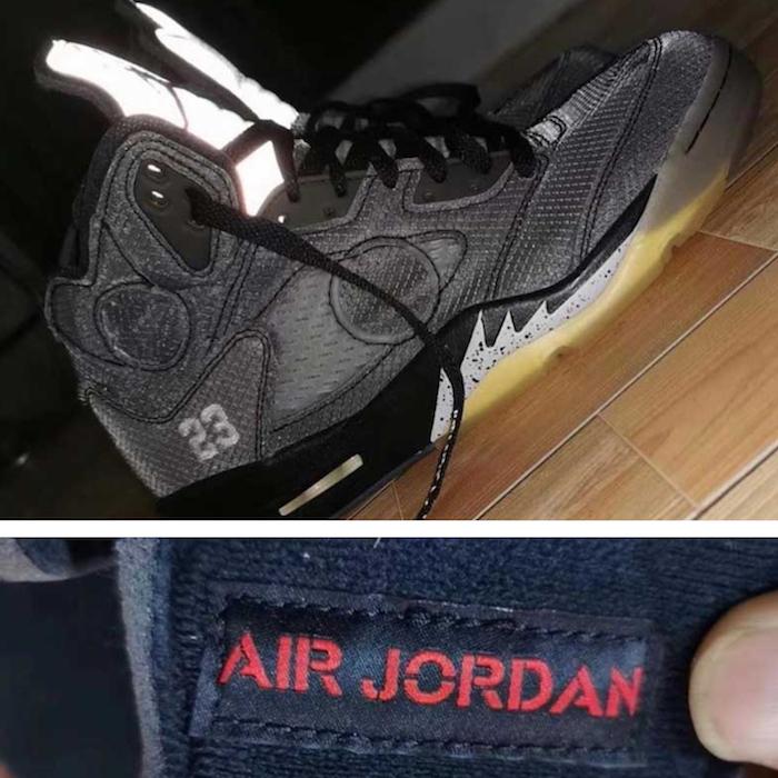 La Off White Air Jordan 5 par V Abloh reçoit une tige en mesh et une languette réfléchissante