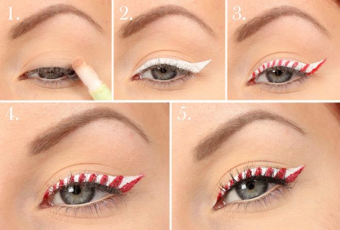 pas à pas facile pour réaliser un make-up avec eye-liner bicolore pour Noël, idée maquillage des yeux verts avec eye-liner façon canne de bonbon