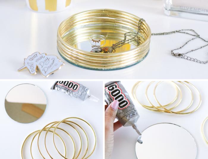 pas à pas pour fabriquer un porte bijoux original, DIY organisateur pour bijoux fait maison avec miroir et bracelets