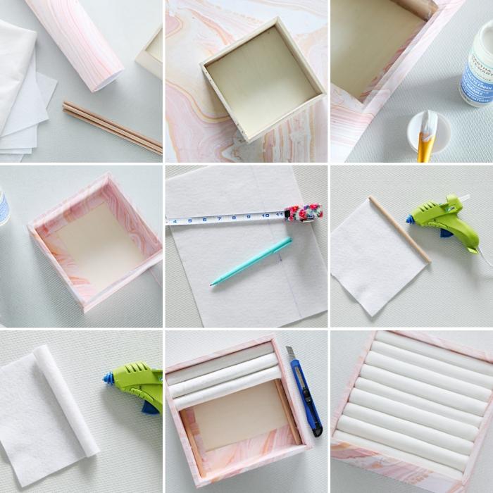 étapes à suivre pour faire un organisateur pour bijoux en carton, diy coffret a bijoux en carton et papier marbre