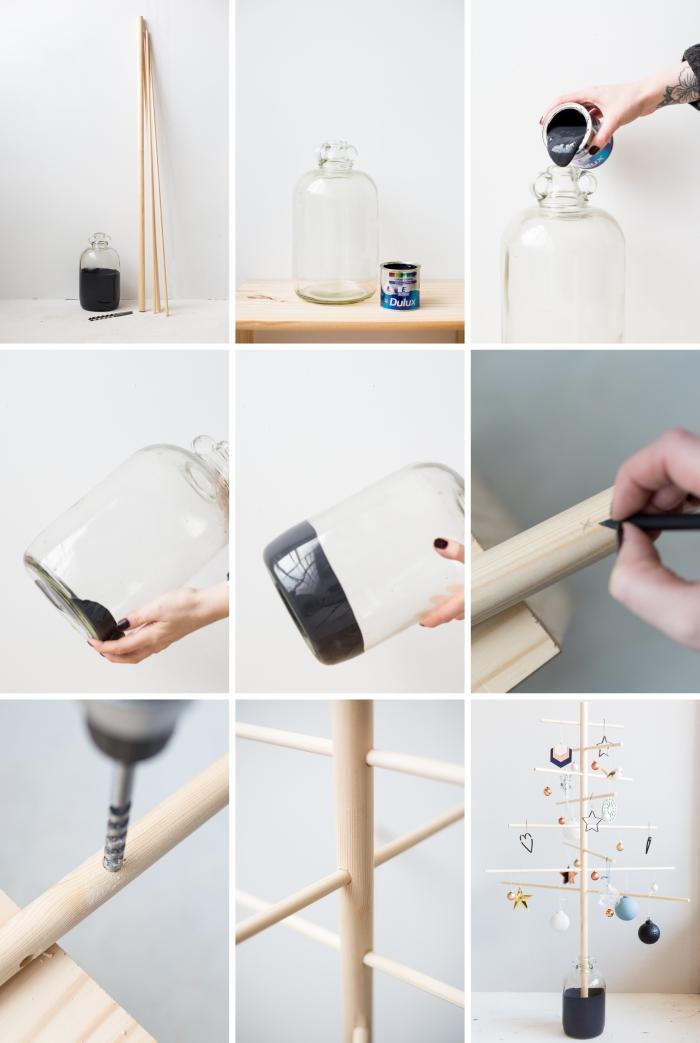 DIY idée de décoration sapin de noel tendance, pas à pas comment faire un sapin original en goujons bois dans un contenant en verre