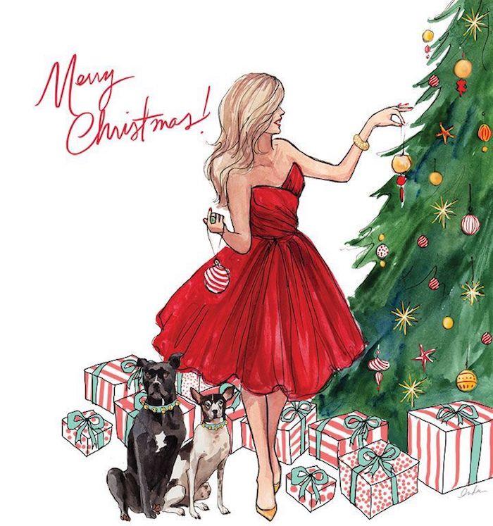 Joyeux Noël carte dessiné, fille en robe rouge bustier, ornements déco sapin de noel, pere noel dessin pour débutant, apprendre à dessiner facilement