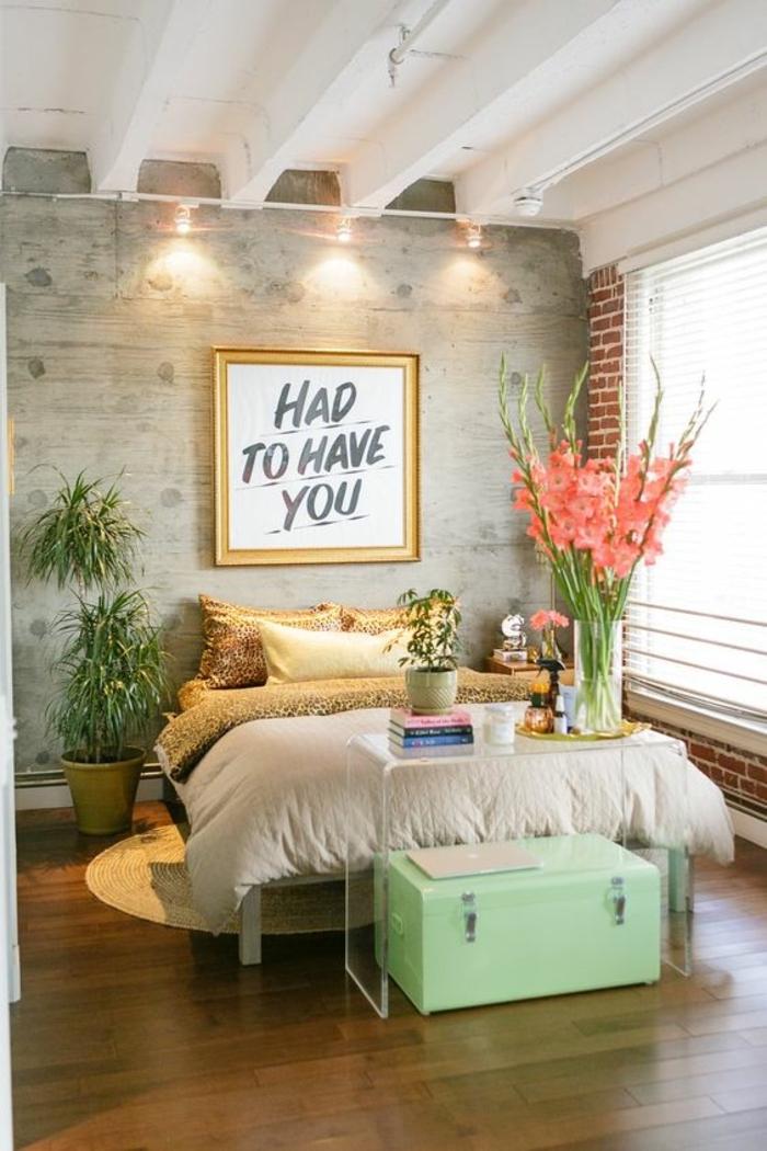 Vert détails dans chambre industriel style, chambre gris et blanc, idée déco pour la chambre à coucher