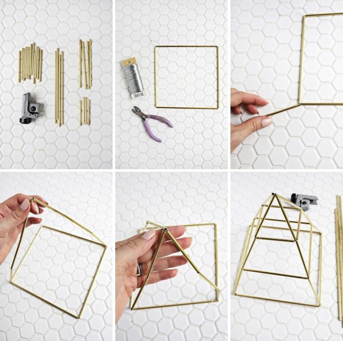 étapes à suivre pour faire un rangement boucle d oreille à design moderne, DIY organisateur pour bijoux en forme pyramide