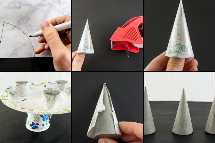 imprimer un gabarit cône et le transférer sur papier, comment faire des cônes de ciment, astuce rangement chambre