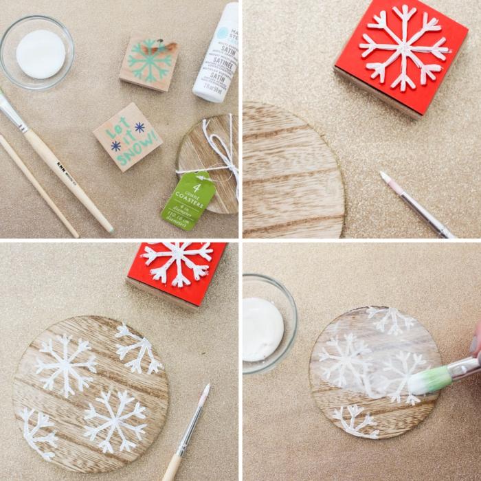 idée deco table noel a fabriquer facile et rapide, DIY dessous de verre en bois personnalisé avec sceau flocon de neige et peinture blanche