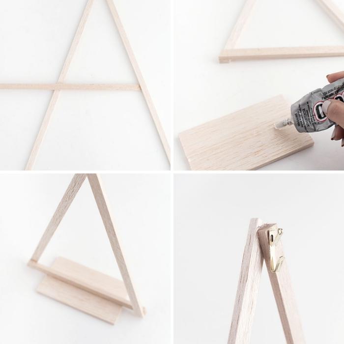 exemple comment créer une figurine sapin minimaliste avec bâtonnets en bois et colle, DIY sapin noel bois facile à faire