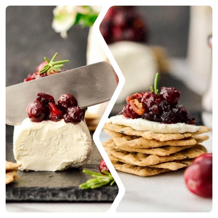 buche de noel apero dinatoire salé en fromage de chèvre et confiture de canneberges maison avec pecans
